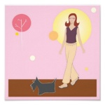 "Scottie Gal Walking - 12"" x 12"" Poster"
